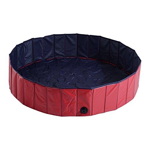 PawHut Bañera para Perros Gatos Plegable Piscina para Mascotas Natación Baño Φ140x30cm Color Rojo