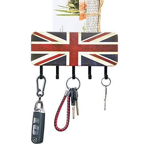 QNIIAED Schlüsselhalter für Wand, rustikales England-Flagge, Briefhalter für Wand, Schlüsselbrett für Wand, mit 5 Schlüsselhaken, Wand-Schlüsselhalter, Mail-Organizer, Schlamm, Flur