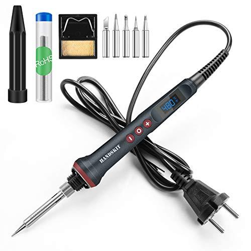 RF Electrónica, Handskit 90 W LED Kit Soldador Digital 220 V con regulación de la temperatura, soldador eléctrico, herramientas de soldadura de 4 hilos