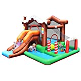 BOUNTECH Inflatable Bounce House, Snow House Bouncy Castle w/ Large Jumping & Playing Area, Tunnel, Long Slide, Climbing Wall, Ball Pit, Basketball Hoop, Kids Indoor Outdoor Playhouse Bouncer