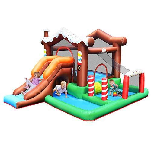 COSTWAY Aufblasbare Hüpfburg Springburg mit Wasserbecken, Rutsche, Kletterwand, Basketballkorb, Hüpfschloss Spielburg für Kinder 380x330x220cm