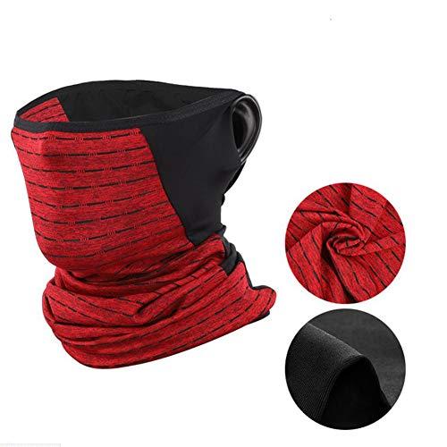 Multifunktionale Kopfbedeckung, dehnbar, atmungsaktiv, UV-Schutz, Gesichtswärmer, Armband für Sport & Outdoor Camping & Wandern L rot