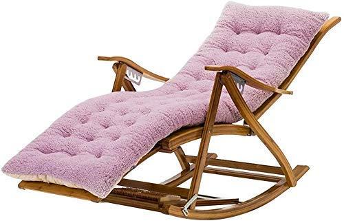 HaoLi Tumbona Sillas de jardín Tumbona Plegable Mecedora Silla de Siesta Multifuncional, con Rueda de Masaje de pies Cojín de algodón Plegable para Adultos Sillón de bambú para balcón