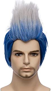 Mersi Men Costume Wigs Cosplay Short Straight Blue Ombre White Wig for Halloween Cosplay Party S043BW