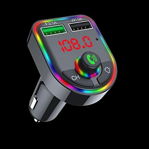 YDLYA Reproductor de MP3 con transmisor de Coche Bluetooth con Luces de Ambiente Coloridas Encendedor de Coche con Puerto USB Dual