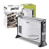 Imetec Eco Rapid TH1-100 Stufa Elettrica 2000 W con Tecnologia a Basso Consumo Energetico, Termoconvettore 4 Temperature, Termostato Ambiente, Silenzioso, Bianco/Grigio, 69.5x18x43 cm