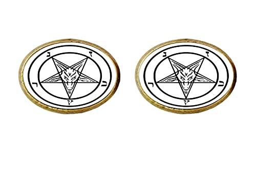 Pentagram Baphomet Art foto foto pendientes hombres mujeres joyería