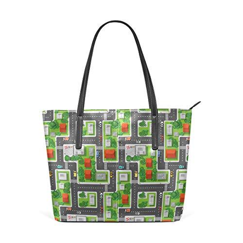 NR Multicolour Fashion Damen Handtaschen Schulterbeutel Umhängetaschen Damentaschen,Stadt-Vogelperspektive-Karten-Design-Druck