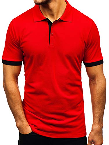 BOLF Hombre Camiseta Polo de Manga Corta Camiseta de Algodón Estilo Casual 171222-1 Rojo M [3C3]