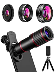 [HD DSLR Camera & Telescope 2 in 1] MACTREM Phone Camera Lens kit includes 20X telephoto lens, 205° fisheye lens, 0.5X ultra wide angle lens, 25X super macro lens, universal clip, tripod, eyecup and EVA bag (Note: macro lens and wide angle lens are s...