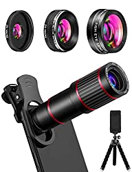 commercial MACTREM Phone Camera Lens Kit 9-in-1 Phone Lens, 20x Telephoto, 205 ° Fisheye Lens, 0.5x Width … smartphone camera lens