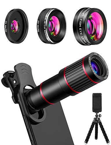 affodable MACTREM Telephone Camera Lens Kit Telephone Lens Kit 9 in 1, 20x Telephoto Lens, 205 ° Fisheye Lens, 0.5x Wide Angle Lens and 25x Macro Lens (Screwed), Compatible with iPhone 8 7 6 6s Plus X XS XRS Samsung