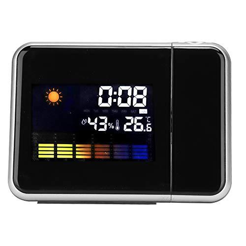 143 Projektionswecker, Wetterstationskalender Digitaler LED-Projektionswecker mit Datumsanzeige (Monat/Tag/Woche), 4 Arten von Wettervorhersage, Temperatur- und Feuchtigkeitsanzeige