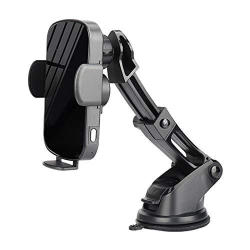 Cargador de coche inalámbrico de 15W Soporte de sujetador de sujeción de montaje de sujeción con soporte de succión para teléfono celular Soporte universal de coche (Color : With Suction Mount)