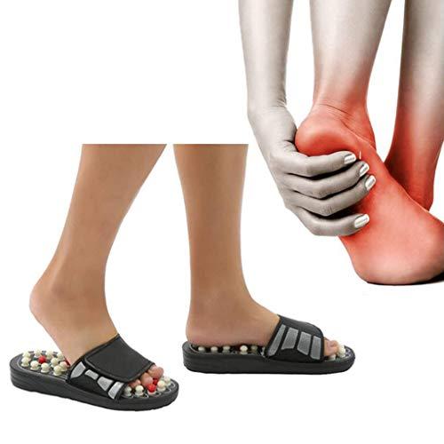 マッサージ靴 足底筋膜炎を和らげる足つぼ サンダル 強力刺激 痛気持ち良い マッサージ 通気性レザー調節可能なレザーベルクロ健康 スリッパ 天然石 室内 メンズ レディース 足ツボマッサージして保健 マットサンダル靴