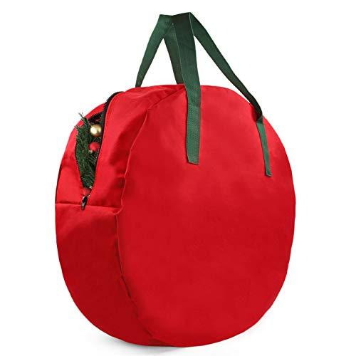 Christmas - Wreath - Storage - Bag - Heavy-Duty 600D Oxford Xmas Decorative Wreath Bag with Smooth PU Lining, 24 x 7 Inches