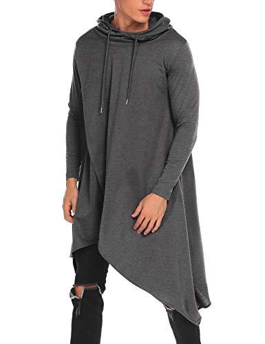 COOFANDY Mens Casual Hooded Poncho Cape Cloak Irregular Hem Hoodie Pullover Dark Gray