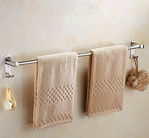 Badkamerrekplank, wandmontage roestvrijstalen handdoekenrek met draagbare haken Single Rod handdoekrek keuken Badkamer Minimalistische handdoekplank (afmeting: 90cm)