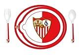 Sevilla FC - Set Vajilla 3 Piezas (Plato, cushara y Tenedor) Compatible con Microondas SFC...