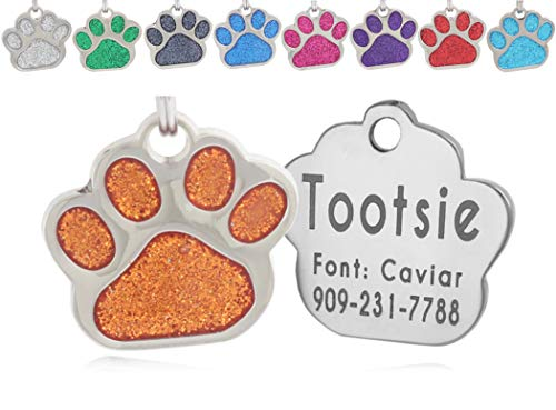 io tags Pet ID Tags, Personalized Dog Tags and Cat Tags, Custom Engraved, Easy to Read, Cute Glitter Paw Pet Tag (Orange)