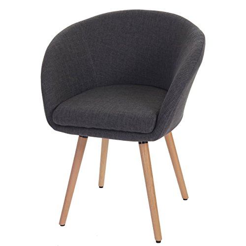 Chaise de Salle à Manger Malmö T633, Fauteuil, Design rétro des années 50 - Tissu, Gris