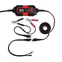 Mainteneur de batterie pour utilisation sur les systèmes de batteries 6V et 12V. Charge batteries de 6 volts et 12 volts AGM, GEL et HUMIDE Connexion facile à la batterie du véhicule à l'aide des pinces de batterie incluses, bornes de joint torique L...