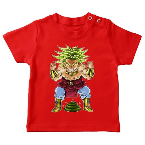 OKIWOKI Dragon Ball Z - DBZ Lustiges Rot Baby T-Shirt - Broly (Dragon Ball Z - DBZ Parodie signiert Hochwertiges T-shirt in Größe 24 monate - Ref : 70)