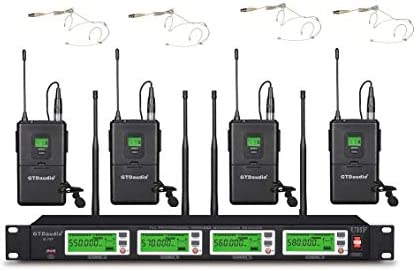 GTD Audio 4x800 Adjustable Channels UHF Diversity Wireless Cordless Microphone system with 4 product image