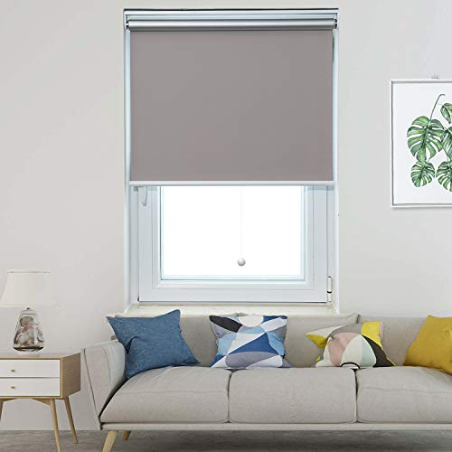 Allesin Cordless Roller Shade Blind Spring Blackout Thermal Gray 23 x 72 Inch Cordless Privacy Room Darkening Window Shades Blinds Kit with Spring System for Windows