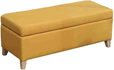 YYQIANG Storage Box Ottoman Bench Cotton Linen Upholstered Footstool Rectangle Pouffe Chair Multifunction with Hinge Cover Du