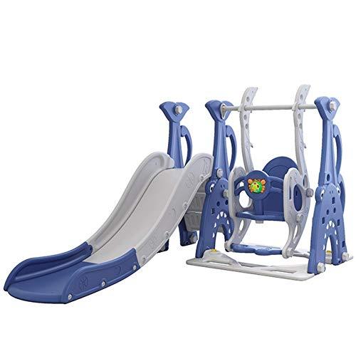 TikTakToo 3in1 Kinder Spielplatz mit 165 cm Rutsche, Schaukel und Basketballkorb | Indoor und Outdoor | Spielturm und Rutsche mit extra Breiten Stufen und Standbeinen (blau / grau)