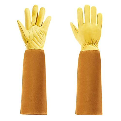 SASDA Gardening Gloves for Women and Men Thron Proof Rose Pruning Cow Leather Gloves with Long Forearm Protection Gauntlet,Yellow,M