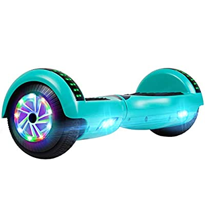 """UNI-SUN Bluetooth Hoverboard for Kids, 6.5"""" Two-Wheel Self Balancing Hoverboard with Bluetooth and LED Lights, Electric Scooter for Adult with UL 2272 Certified, Green"""