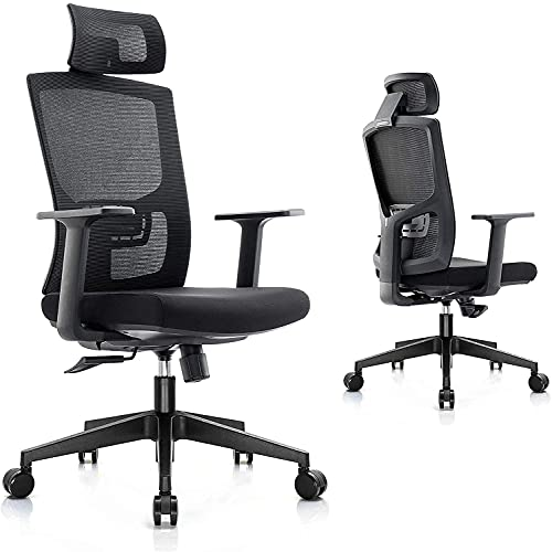 Mottife Ergonomic Office Desk Chair - High Back Computer Mesh Chair with Headrest, Lumbar Support and Adjustable Arms, Executive Swivel Chair for Home Office Task Gaming
