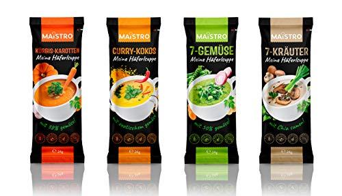 MAISTRO Häferlsuppen. Die vier beliebten Cremesuppen. Nur mit heißem Wasser aufgießen und genießen. Mach Pause mit Suppe. Probier Mix.