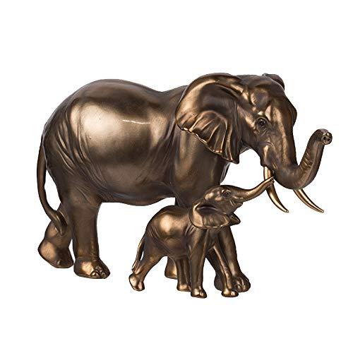 FENGJIAREN Estatuas,Estatuillas,Esculturas,Unión Creativa De Latón Retro De Oro Escultura Arte Elefante Lucky Animales Artesanías De Resina para El Hogar Decoraciones De Escritorio