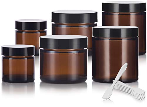 6 piece Amber Glass Straight Sided Jar Multi Size Set : Includes 2-1 oz, 2-2 oz, and 2-4 oz Amber Glass Jars with Black Lids + Spatulas for Aromatherapy, Essential Oils, Travel and Home