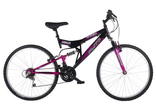 Flite Taser II Women's Mountain Bike Black/Cerise, 18 Inch Steel Frame, 18-speed Fully Adjustable Rear Shock Unit 26 Inch Silver Alloy Rims