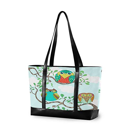 Funny Cartoon Owls Sitting The Brunches Laptop Bag for Women 15.6 Inch Canvas Large Laptop Tote Bag Work School Business Computer Bag for Laptop