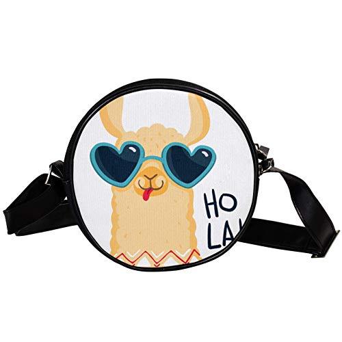 Hola Cute Alpaka Cartoon Diagonal Pouch Round Crossbody Wallet, Shoulder Bag Fashion Circle...