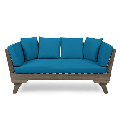 Christopher Knight Home 312922 Aldrich Outdoor Acacia Wood Expandable Daybed with Water Resistant Cushions, Dark Teal and Gray