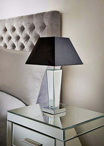 Vintage Modern Sparkle Gatsby Mirror Table Lamp Ideal for Living Rooms and bedrooms - Black
