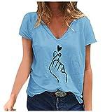 TUDUZ Camiseta de Mujer Verano Estilo y Ocio Sueltas Moda Slim Animales Impresión Camisa Tops Blusas Túnica para Mujer Verano Escote en V Manga Corta T-Shirt Fiesta Basica Ropa(CAzul,XXXXXL)