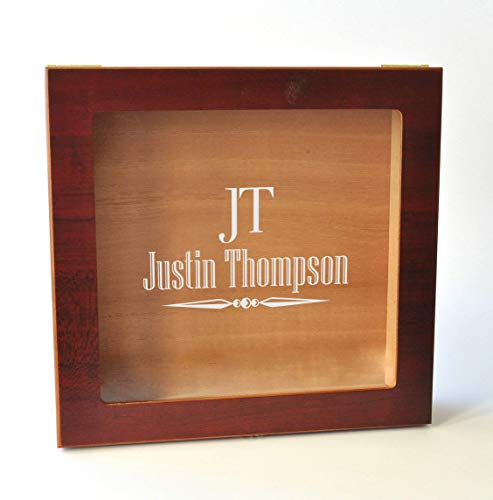 Personalized Engraved Glass Top Humidor 9x8.5