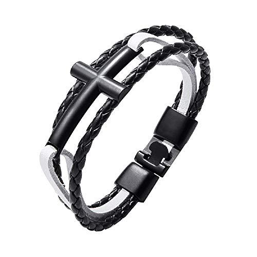 Man - man en vrouw armband - kruis - armband - kunstleer - multiwire - kerstmis - leer - zwart wit - origineel cadeau idee