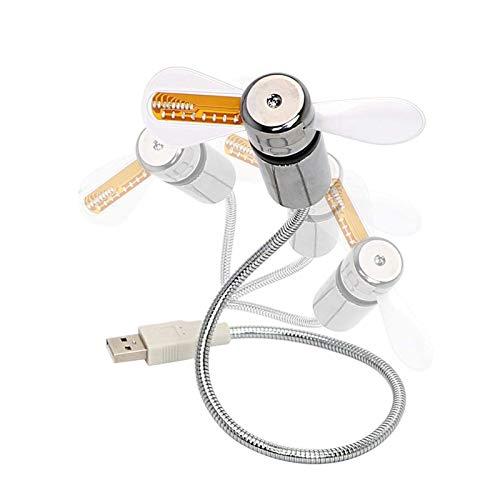 Ventilador LED USB, Mini Ventilador de Reloj LED con Cuello de Cisne Flexible, Ventilador Personal silencioso para computadora portátil Alimentado por USB para Oficina en casa