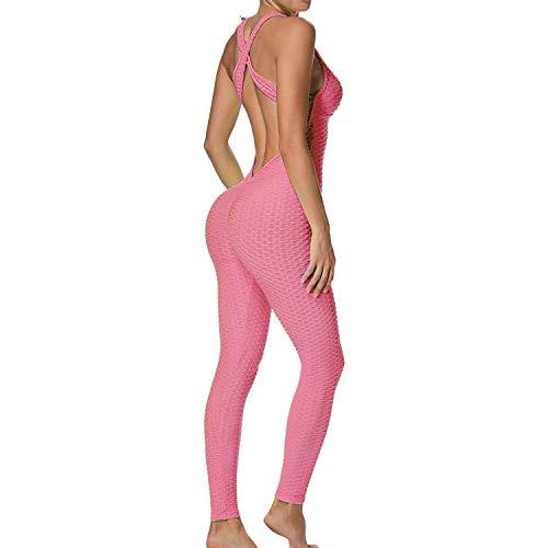 Mimoka Monos Pantalones Deportivos Mujer Elástico y Transpirable | Leggins Mujer Fitness Push up con Tirantes para Yoga GYM Running (L, Rosa)
