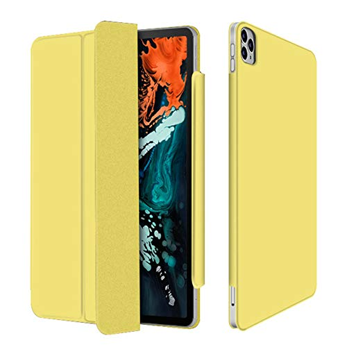 LTLJX Case for iPad pro 11in, Slim Lightweight Shell Stand Cover with Pen Slot Frosted Back Protector for iPad pro 11in, Auto Wake/Sleep,Yellow