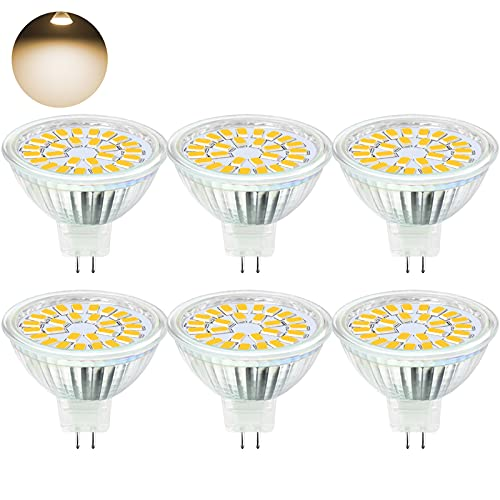 MR16 LED Warmweiss MTJL LED GU5.3 MR16 12V 5W Ersatz Für 50W Halogen Lampe LED GU 5.3 AC DC12V Kein Stroboskopeffekt GX5.3 warmweiß 3000K 450LM Hell Spot Birne Leuchtmittel 110° Abstrahwinkel 10ER