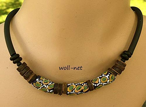 Halskette Perlenkette Kroboperlen Kokosrondellen grün ocker weiß schwarz, Gesamtlänge: ca. 42 cm, zzgl. 5,5 cm